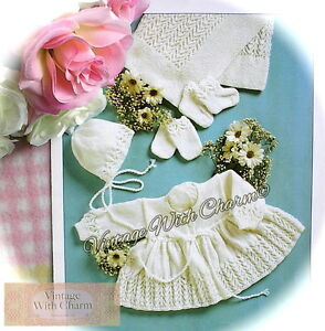 Vintage-Baby-039-s-Knitting-Pattern-4-Piece-Coat-Set-amp-Shawl-Inc-Premature-Sizes