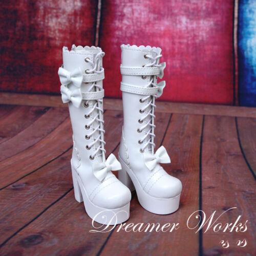 White Mimi Collection MSD 1//3 BJD Obitsu Doll Lolita bow tie Middle Tube boots