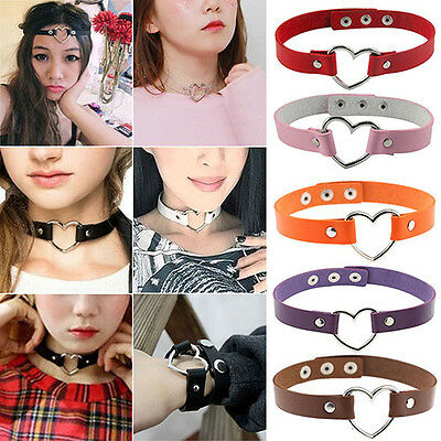 New Women Glamor Punk Goth Rivet Heart Ring Leather Good Collar Choker Necklace