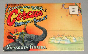 1947-Ringling-Bros-amp-Barnum-amp-Bailey-Circus-Sarasota-FL-Linen-Postcard-Folder