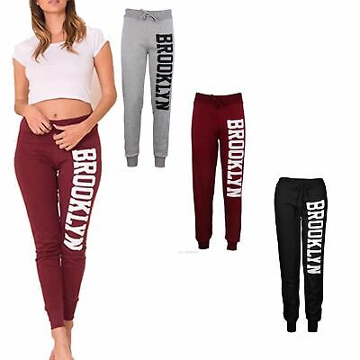 LADIES NEW TRENDY BROOKLYN JOGGING JOGGERS GYM PANTS TROUSERS SIZE 8-14