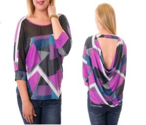 T39-Womens-Pink-Size18-20-Clubwear-Party-3-4-Sleeves-Tops-Blouse-Plus-Open-Back