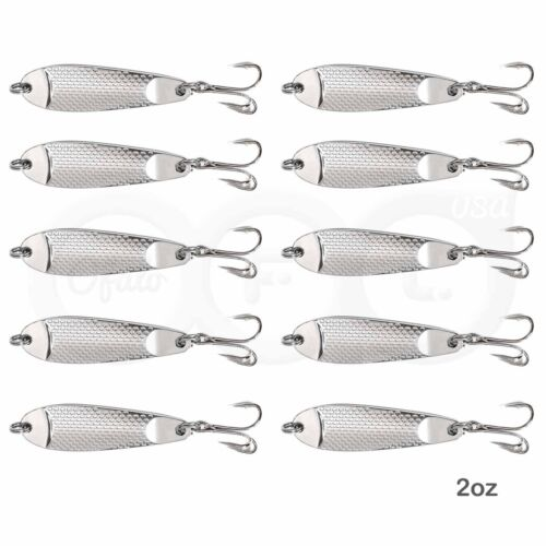 2oz Chrome Silver Hammered Shorty Fishing Spoons Hopkins style Lure bait Jig lot