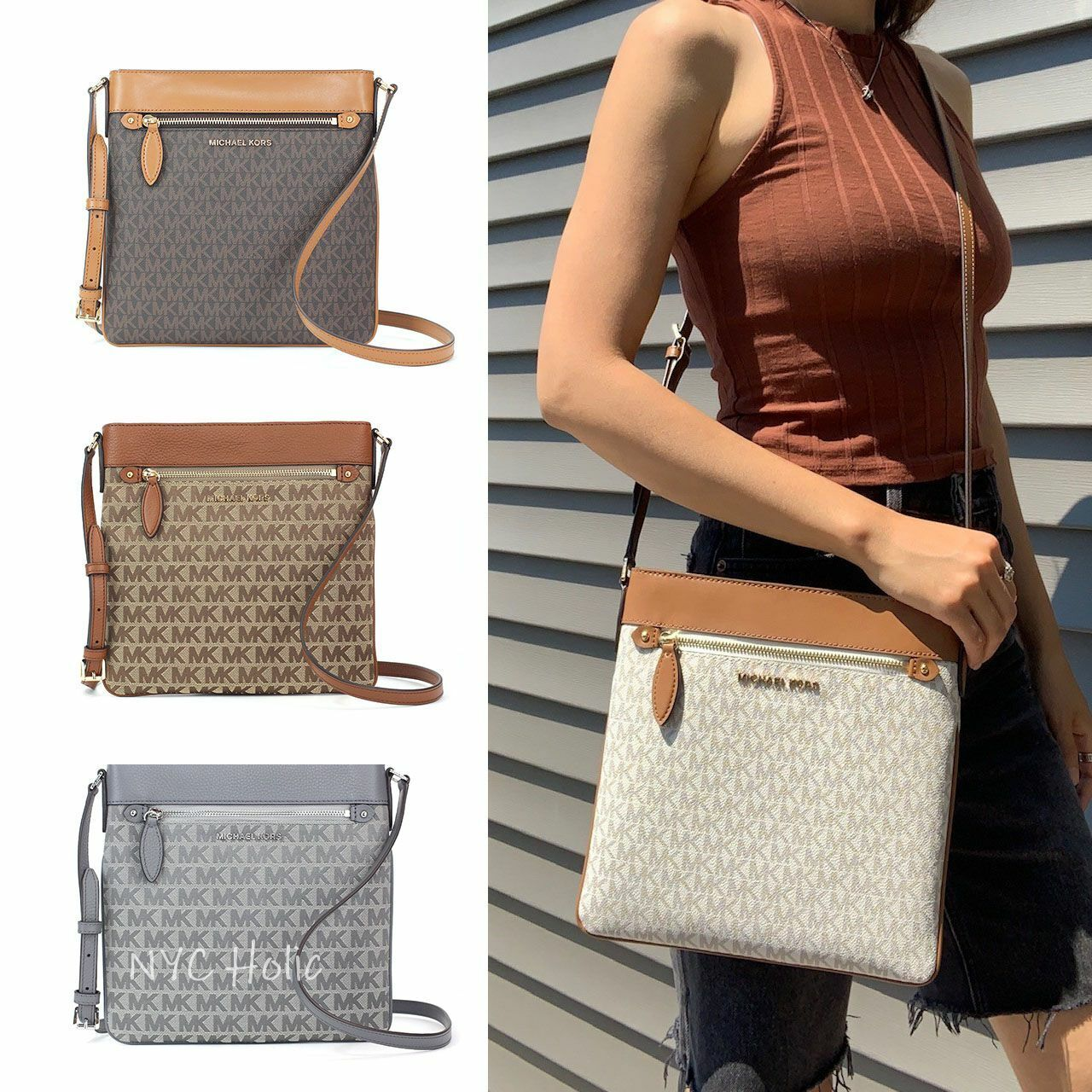Details about Michael Kors Connie North South Crossbody New