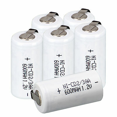 White 6pcs Ni-Cd 1.2V 2/3AA 600mAh rechargeable battery NiCd Batteries With Tap