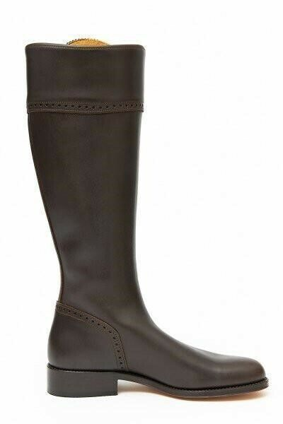 Spanish Leather Riding Boots Classic Chocolate Leather Sole BNWT UK 6 WIDE FIT