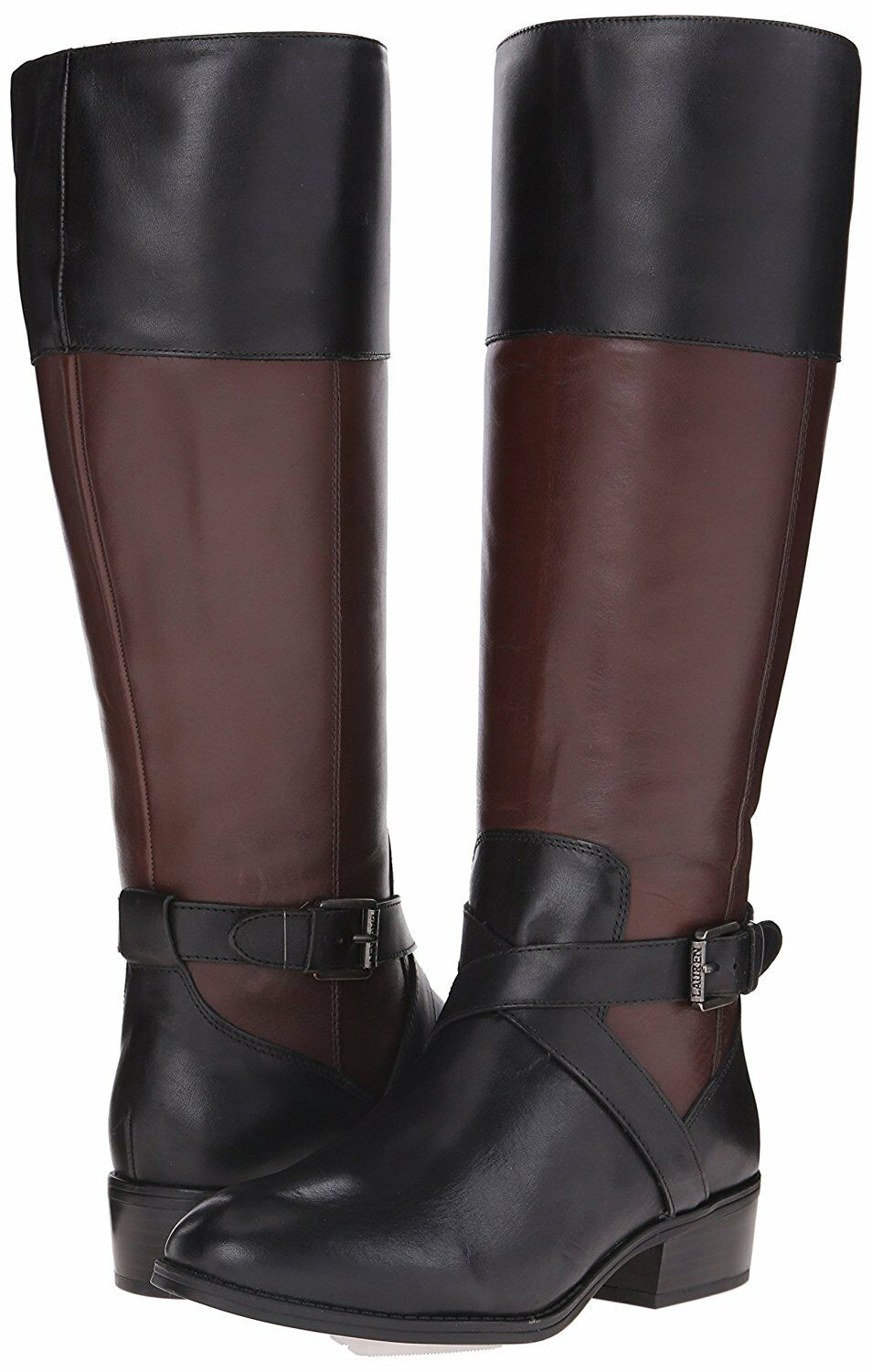 LAUREN RALPH LAUREN New Maryann Tall Black Dark Brown Leather Riding Boots 5.5