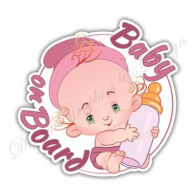 Baby on Board Full Color Adhesive Vinyl Sticker Pink 03 Free Shipping Worldwide