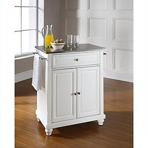 Details about Crosley Furniture Cambridge Stainless Steel Top White Island  Kitchen Cart