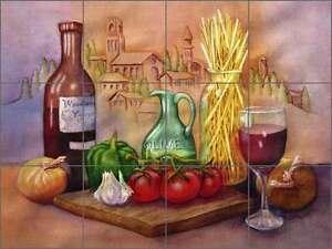 Ceramic Tile Mural Backsplash Hoyle Tuscan Wine Food Kitchen Art Rw Sh002 Ebay