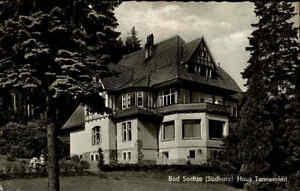 Bad-Sachsa-Niedersachsen-AK-1963-Suedharz-Partie-Haus-Tannenried-Pension-gelaufen
