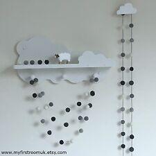 Monochrome Felt Ball Garland,Gender Neutral Nursery,White and Grey Pom Pom,Eco