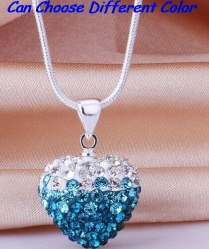 10pcs//lot Mixte Argent Disco Cristal Vert Coeur Shamballa Collier Pendentif