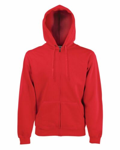 Men/'s Plain Full zipped hoodie Fruit Of The Loom Classic Hooded Sweat Jacket