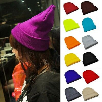 Unisex pure Color Warm Cuff Plain Beanie Ski Skull Knit Cap Hat Men Women Winter