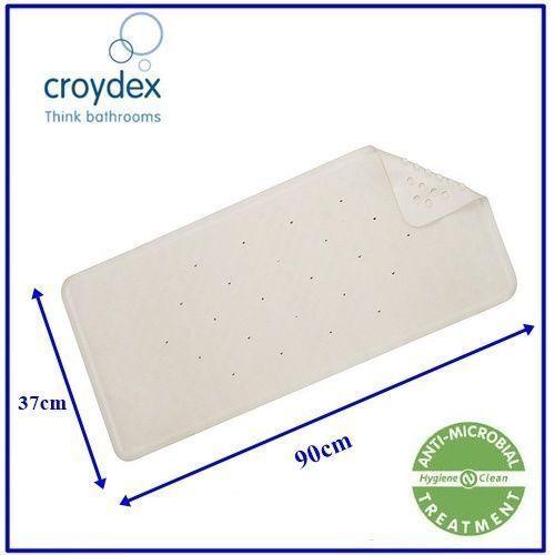Croydex Rubagrip Grand Blanc Anti Glisse Caoutchouc Tapis De Bain 90 cm x 37 cm