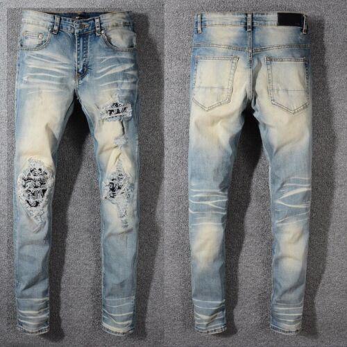 AMIRI Men/'s Pleated Paneled Jeans Cat/'s Holes Slim Fit Pants #579