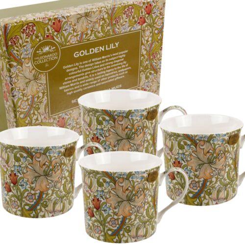 Ensemble de quatre tasses Par Le Leonardo Collection William Morris Golden Lily Boîte Cadeau