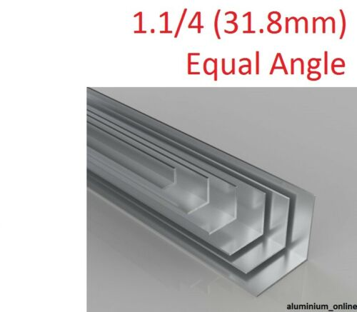 ALUMINIUM EQUAL ANGLE 1.1//4 lengths up to 2.5m 31.8mm 4 thickness