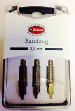 BRAUSE CALLIGRAPHY NIBS - BANDZUG 2.0mm - PACK OF 3 CALLIGRAPHY NIBS. (318020B)