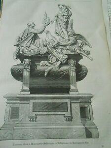 Raisonnable Monument élevé à Monseigneur Haffreingue Gravure Antique Print 1875