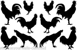 Details about ROOSTERS VINYL WALL DECALS SET OF 10 DECORATING KITCHEN  FAMILY ROOM MANY COLORS