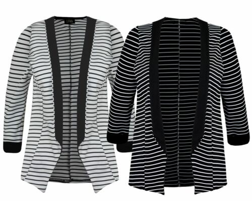 Women Ladies 3//4 sleeve Black Stripe Blazer Open Jacket Short Cardigan Top 8-14