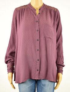 98c27328697da Free People Womens Purple Crochet Back Gauze Long Sleeves Button ...