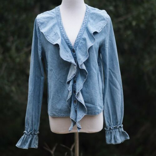 NWOT Free People Lovely in Ruffles Chambray Top -