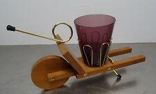 mid century design - Salzstangen Glas + Salzbrezel Halter Teak Schubkarre ~ 50er