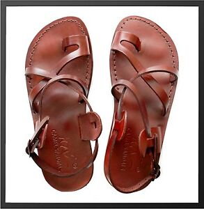 333f266bc19 New Brown Biblical Sandals 100% Leather Jesus Strap Sandal Shoes ...