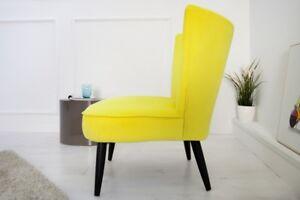 Sedia Imbottita Design : Sedia imbottita poltrona retrò vintage samtstoff giallo marta design