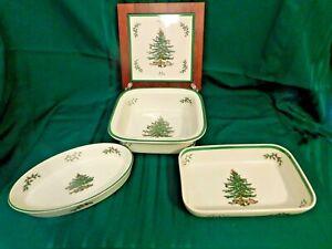 I2-Spode-England-Christmas-Tree-Baking-Dishes-3-Wood-Trivet-4-pc-Lot