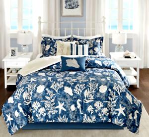 MADISON PARK Comforter QUEEN SET 7pc COASTAL blueE SEASHELLS