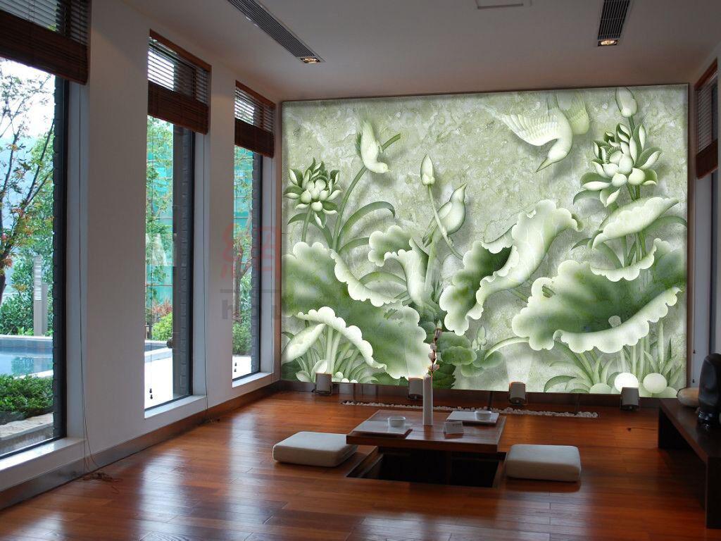 3D green Lotusblätter Prägen 883 Tapete Wandgemälde Tapeten Bild Familie DE Kyra