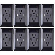 Dual Plug Electric Wall Socket Adapter With 2 USB Port Outlet Panel Switch