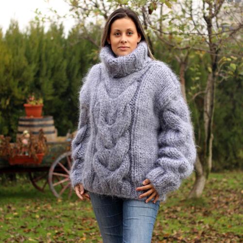 By Pullover Extravagantza Mohair Strik Neck T Fuzzy Grå 10 Hånd Sweater Strands qZxWSTHfw