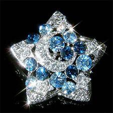 w Swarovski Austrian Crystal Blue Fairy ~CRESCENT MOON Wish STAR Pin Brooch Xmas