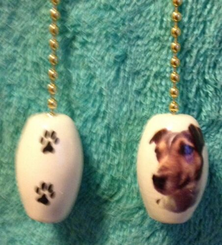 """One Jack Russell Terrier Dog Fan Pull With Paw Prints On The Back 1/"""""""