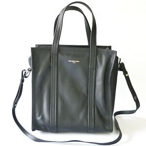 1a2ecefa7238 Image is loading Balenciaga-Bazar-Small-Leather-Shopper-Tote-Bag-Black-