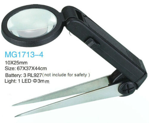 Foldable Eyebrow Tweezers Magnifier LED Clip Magnifying Glass 10X with LED Light