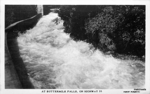 1940s Buttermilk Falls Highway 35 Parks RPPC real photo postcard 9293