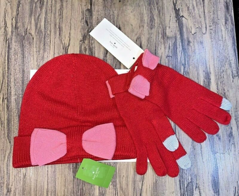 Obliging Kate Spade Women's Charm Red And Pink Beanie & Glove Bow Box Set $98 Msrp At Any Cost