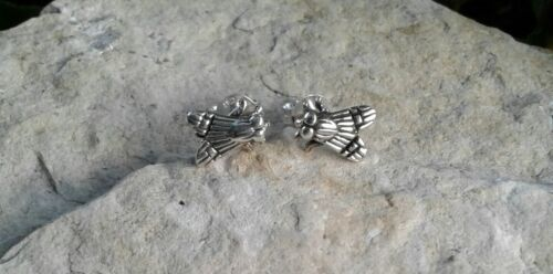 Solid Sterling Silver fly Boucles d/'oreilles insecte Bijoux