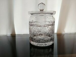 Vintage-Crystal-Clear-Industries-ASHLEY-Cut-Etched-Crystal-Biscuit-Barrel-w-Lid