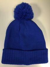 Adult E-Flag Knit Pom Pom Hat in Blue