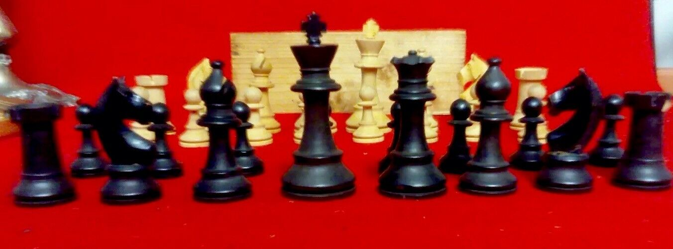 Vintage Hand Carved Wood Chess Set, Good Condition, In Original Wood Box.