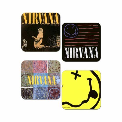 Nirvana Kurt Cobain Smiley Coaster Set 4 Boxed Stocking Filler Bar Beer Mat