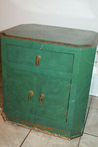 Vintage-Chinese-Green-Faux-Marble-Lacquer-Side-Table-Cabinet-Dresser-MCM