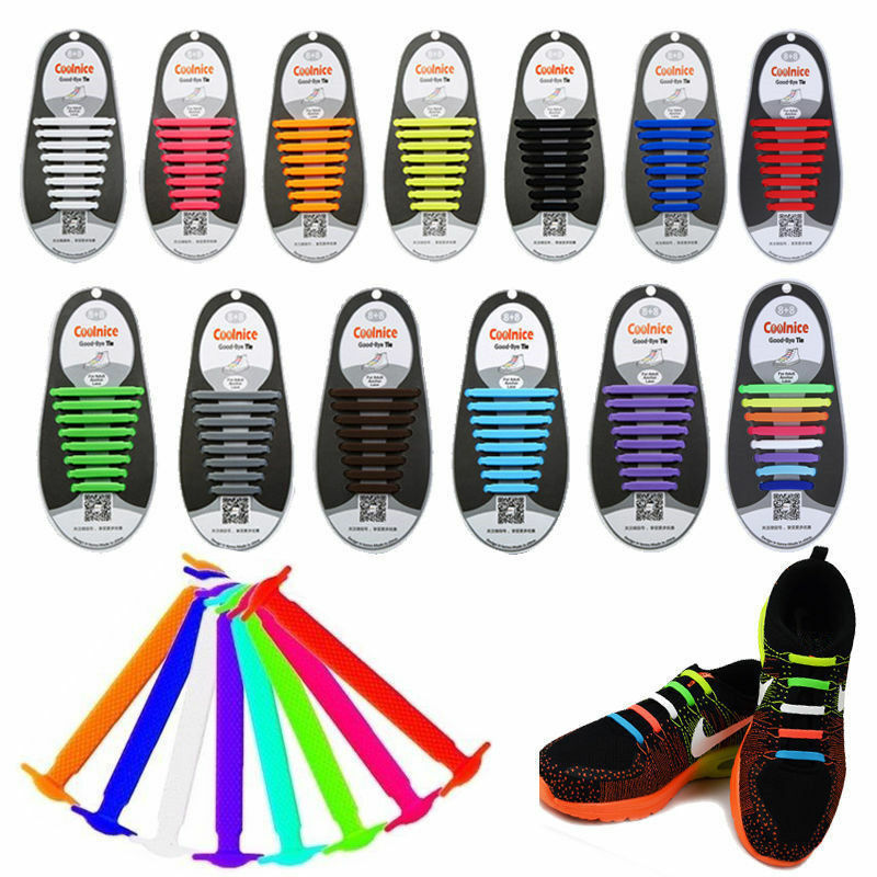 Silicone Easy No Tie Shoe Laces ShoeLaces For Kids Adults Trainers Canvas Shoes 3